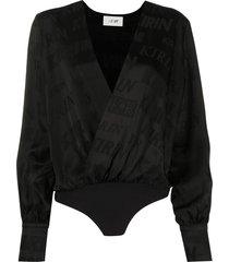 kirin typography print wrap front bodysuit - black