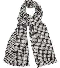 reiss arlo-check scarf - lambswool scarf in blue/white, mens