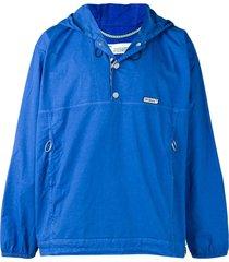 off-white press stud hoodie - blue