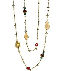 t.r.u. by 1928 14 k gold dipped droplet chain with buddha and sem-precious accents necklace
