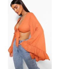 woven tie front flared sleeve crop top, terracotta