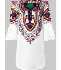 off the shoulder flare sleeve ethnic print dress