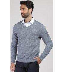 suéter masculino em tricô gola v azul marinho