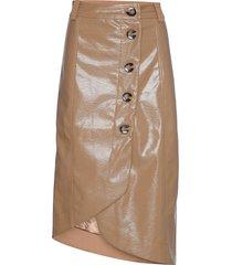patent skirt knälång kjol brun ganni