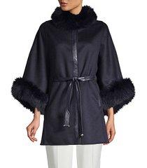 dyed fox fur-trim wool & cashmere cape
