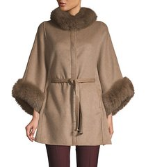 dyed fox fur-trim wool & cashmere cape