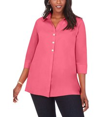 plus size women's foxcroft pamela non-iron stretch tunic blouse, size 16w - pink
