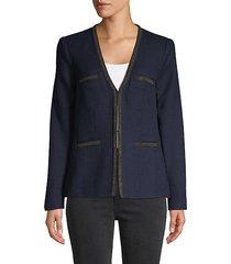 front-hook tweed jacket