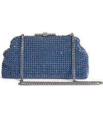 reiss adaline crystal embellished frame clutch - blue