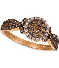 le vian chocolatier diamond cluster halo ring (3/4 ct. t.w.) in 14k rose gold