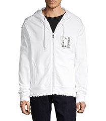 full-zip cotton-blend hoodie