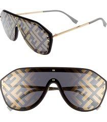 women's fendi 147mm logo lens shield sunglasses -