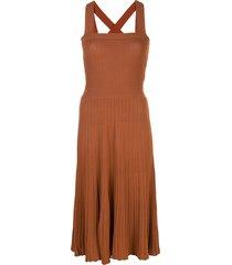 alexis bess ribbed knit midi dress - brown