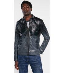 biker jacket leather effect - blue - xxl