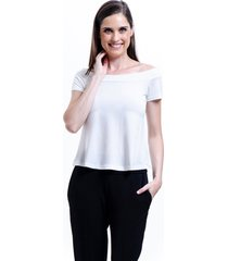 blusa 101 resort wear viscose ombro a ombro off - off-white - feminino - viscose - dafiti