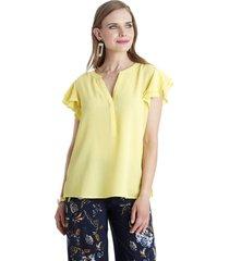 blusa manga con vuelos amarillo lorenzo di pontti