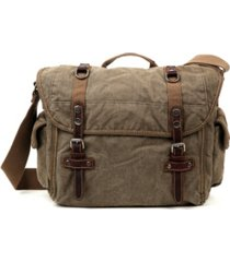 tsd brand silver-tone road canvas messenger bag