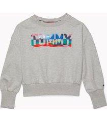 tommy hilfiger girl's adaptive logo sweatshirt grey heather - xs