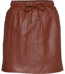skirt with smock waist kort kjol brun depeche