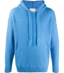 laneus textured knit hoodie - blue