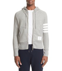 men's thom browne classic 4-bar zip cotton hoodie, size 0 - grey