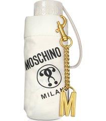moschino designer umbrellas, supermini signature umbrella w/golden m charm