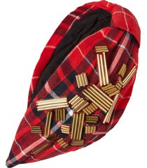 namjosh beaded red plaid headband