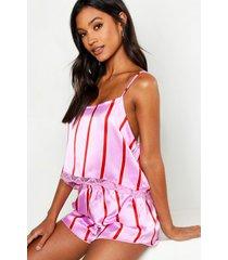 strak hemdje met strepen en shorts set, roze