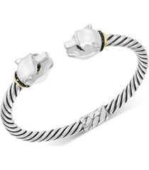 effy diamond (1/3 ct. t.w.) & tsavorite (1/10 ct. t.w.) panther head cuff bracelet in sterling silver & 18k gold-plate