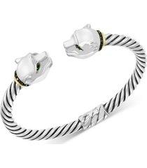 effy diamond (1/3 ct. t.w.) & tsavorite (1/10 ct. t.w.) panther head cuff bracelet in sterling silver & 18k gold-plate