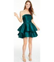 b darlin juniors' strapless double-tiered dress