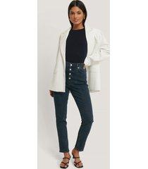 na-kd jeans med hög midja och frontsöm - blue