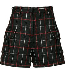 msgm stitch-detail fitted shorts - black