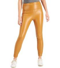 tinseltown juniors' high-rise faux-leather leggings
