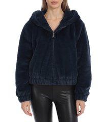 avec les filles women's faux fur hooded bomber jacket - navy - size s