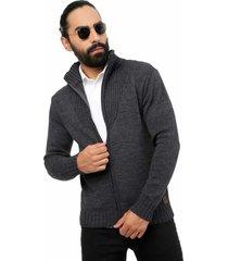 saco chaqueta cuello acanalado - sha461-gris oscuro