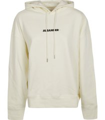 jil sander logo print hooded sweatshirt