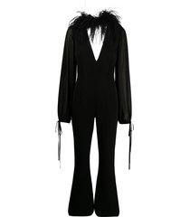 16arlington ostrich feather trimmed flared jumpsuit - black