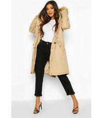 faux fur trim synch waist parka coat, stone