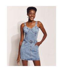vestido jeans feminino hype beachwear curto marmorizado com cinto alça média azul claro