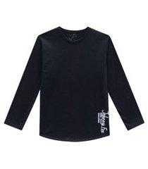 camiseta manga longa preta johnny fox