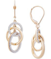 diamond interlocking circle drop earrings (1/2 ct. t.w.) in 14k gold