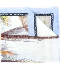 altea foliage print frayed edge scarf - neutrals