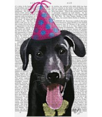 "fab funky black labrador with party hat canvas art - 15.5"" x 21"""