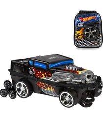 mochila 3d com rodinhas e lancheira hot wheels bone shaker 2500em19 lançamento masculina