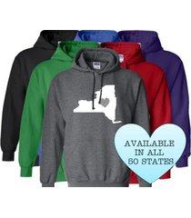 new york hoodie sweatshirt love home heart unisex men women state