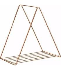 prateleira aramada arthi decora 25x25x17cm triangular metal rosé gold