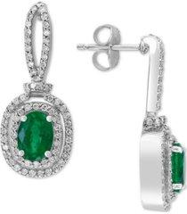 effy emerald (1-1/2 ct. t.w.) & diamond (1/2 ct. t.w.) drop earrings in 14k white gold