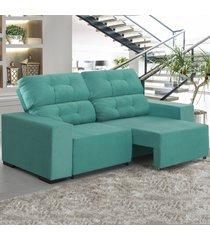 sofá 4 lugares retrátil e reclinável living turquesa - viero móveis