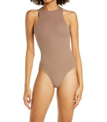 skims fits everybody high neck bodysuit, size x-large in umber at nordstrom